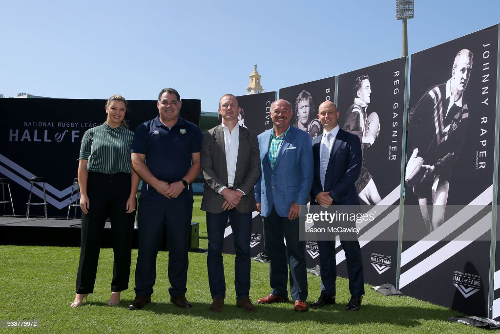Yvonne Sampson, Mal Meninga, Darren Lockyer, Wally Lewis and NRL Chief Executive Todd Greenberg pose for the media during the Rugby League Hall of Fame and Immortals Announcement at Sydney Cricket Ground on March 19, 2018 in Sydney, Australia.