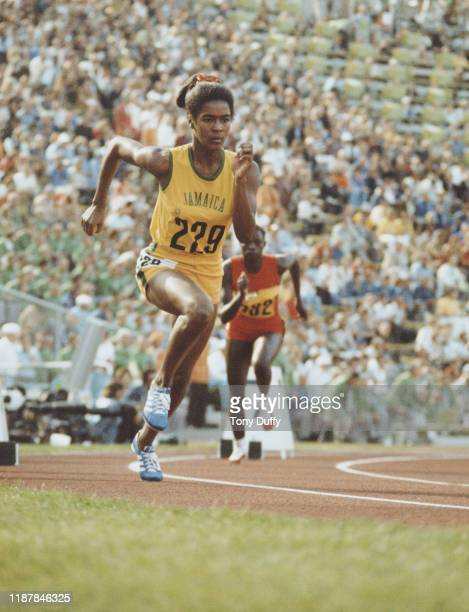 Yvonne Saunders of Jamaica starts the quarter final heat 2 of the Women's 400 metres competition on 2nd September 1972 during the XX Summer Olympic...