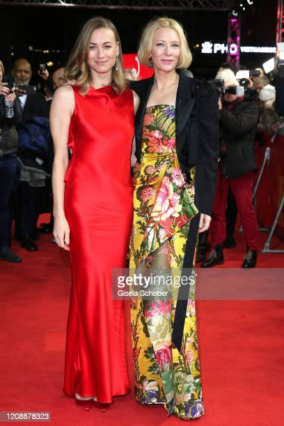 "Yvonne Strahovski and Cate Blanchett pose at the ""Stateless"" premiere during the 70th Berlinale International Film Festival Berlin at Zoo Palast on..."