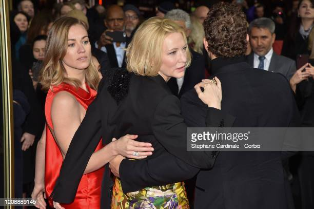 Yvonne Strahovski and Cate Blanchett pose at the Stateless premiere during the 70th Berlinale International Film Festival Berlin at Zoo Palast on...