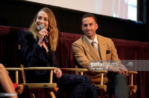 Yvonne Strahovski and Joseph Fiennes attend Hulu's The Handmaid's Tale season 3 finale at Regency Village Theatre on August 06 2019 in Westwood...