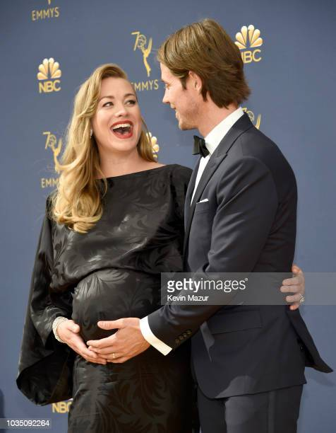 Yvonne Strahovski and Tim Loden attend the 70th Emmy Awards at Microsoft Theater on September 17 2018 in Los Angeles California
