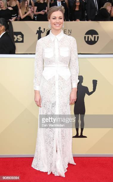 Yvonne Strahovski arrives at the 24th Annual Screen Actors Guild Awards at The Shrine Auditorium on January 21 2018 in Los Angeles California