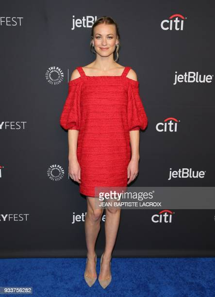 Yvonne Strahovski attends 2018 PaleyFest Los Angeles Hulu's 'The Handmaid's Tale' in Hollywood California on March 18 2018 / AFP PHOTO / JEANBAPTISTE...