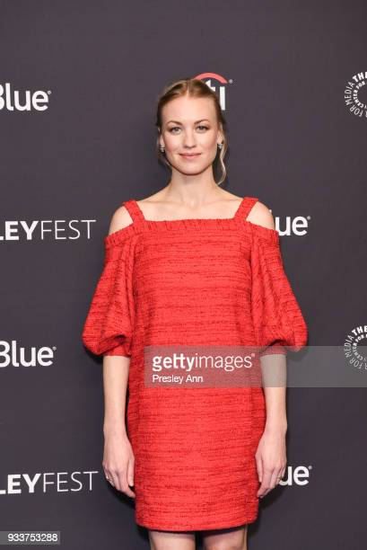 Yvonne Strahovski attends PaleyFest Los Angeles 2018 'The Handmaid's Tale' at Dolby Theatre on March 18 2018 in Hollywood California