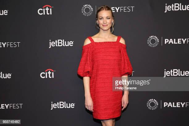 Yvonne Strahovski attends the 2018 PaleyFest Los Angeles Hulu's 'The Handmaid's Tale' at Dolby Theatre on March 18 2018 in Hollywood California