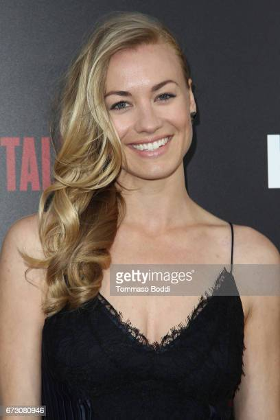 "Yvonne Strahovski attends the Premiere Of Hulu's ""The Handmaid's Tale"" at ArcLight Cinemas Cinerama Dome on April 25, 2017 in Hollywood, California."