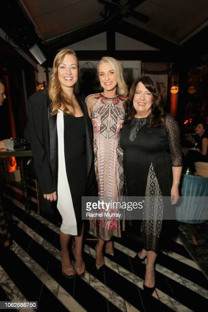 Yvonne Strahovski, Ever Carradine, and Ann Dowd attend the 2018 Hulu Holiday Party at Cecconi's Restaurant on November 16, 2018 in Los Angeles,...