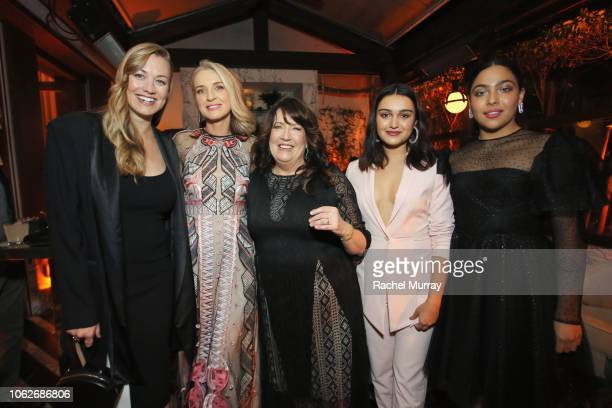 Yvonne Strahovski, Ever Carradine, Ann Dowd, Ariela Barer, and Allegra Acosta attend the 2018 Hulu Holiday Party at Cecconi's Restaurant on November...