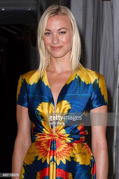 Yvonne Strahovski is seen during MercedesBenz Fashion Week Spring 2015 at Lincoln Center for the Performing Arts on September 9 2014 in New York City