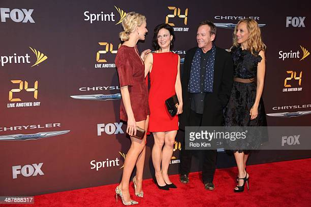 Yvonne Strahovski Mary Lynn Rajskub Kiefer Sutherland and Kim Raver attend the '24 Live Another Day' World Premiere at Intrepid Sea on May 2 2014 in...