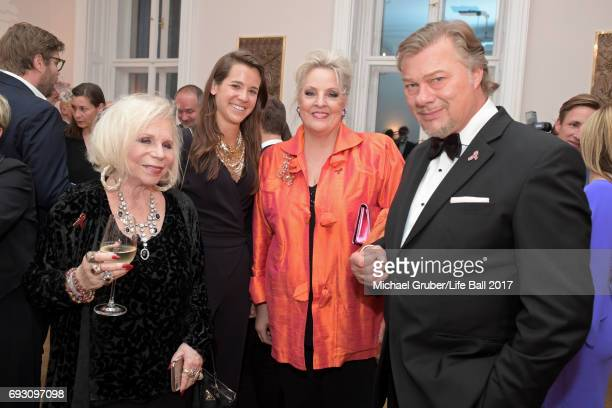 Yvonne Sylvia Marica Kalman guest Linda Watson and Rene Pape pose at the reception after the Life Celebration Concert at Burgtheater on June 6 2017...