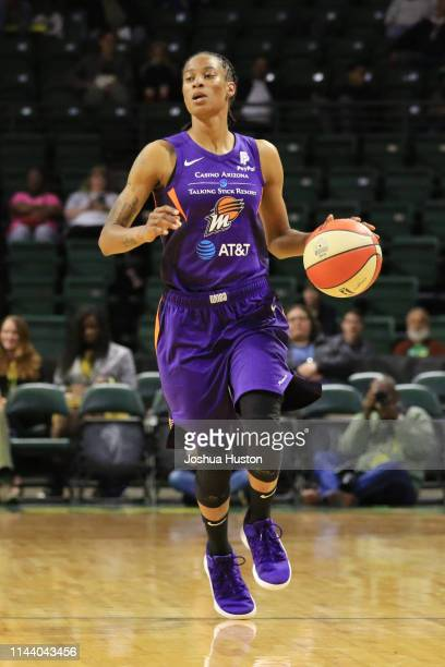 Yvonne Turner of the Phoenix Mercury handles the ball against the Seattle Storm on May 15 2019 at the Angel of the Winds Arena in Everett Washington...