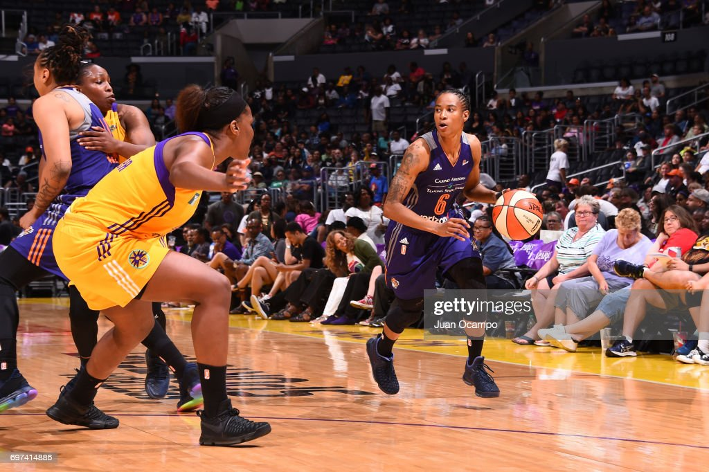 Yvonne Turner #6 of the Phoenix Mercury handles the ball during a game against the Los Angeles Sparks on June 18, 2017 at STAPLES Center in Los Angeles, California.
