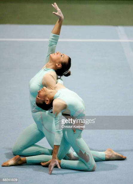 Yvonne Welsh and Julie Cameron of Great-Britain compete in the sport acrobatics event during the World Games 2005 on July 15, 2005 in Duisburg,...