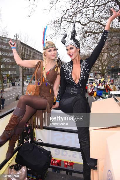 Yvonne Woelke and Micaela Schaefer attend the Berlin Carnival Parade on February 19, 2017 in Berlin, Germany.