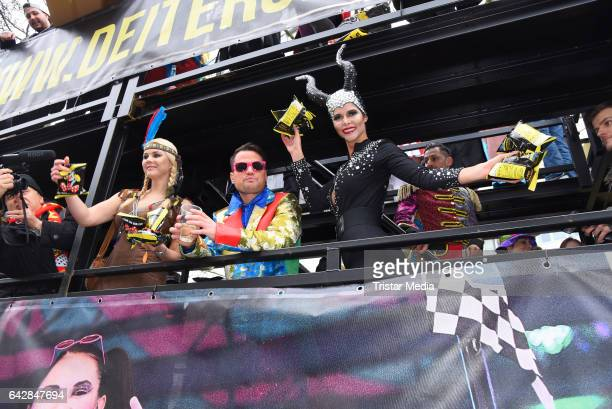 Yvonne Woelke, Rocco Stark and Micaela Schaefer attend the Berlin Carnival Parade on February 19, 2017 in Berlin, Germany.