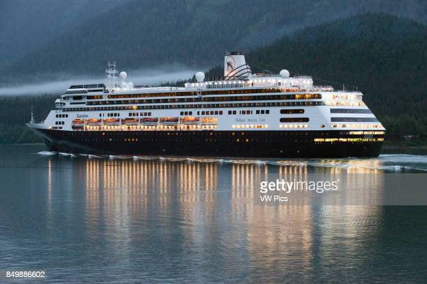 Zaandam sailing near the South Franklin dock at night Juneau Alaska Designed to carry fewer guests while providing more space for maximum comfort ms...