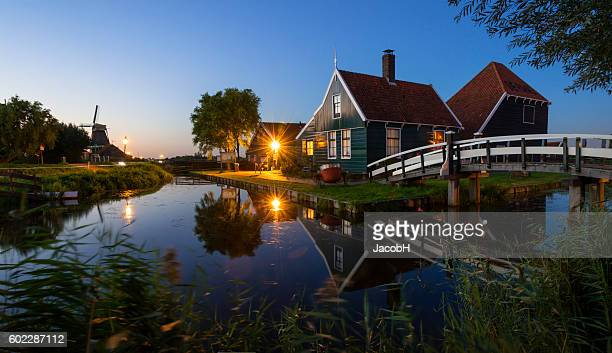 zaanse schans - old windmill stock photos and pictures
