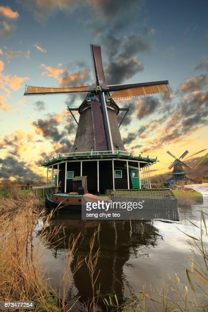 Zaanse Schans windmills at sunset