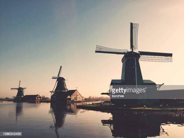 zaanse schans windmills - spring flowing water stock pictures, royalty-free photos & images