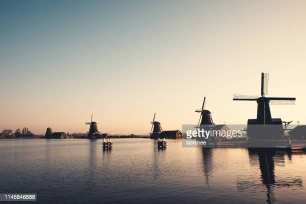 zaanse schans windmills - netherlands stock pictures, royalty-free photos & images