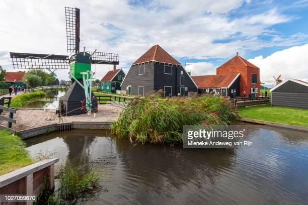 Zaanse Schans, with historic windmills and houses, Zaandam, North Holland, The Netherlands.
