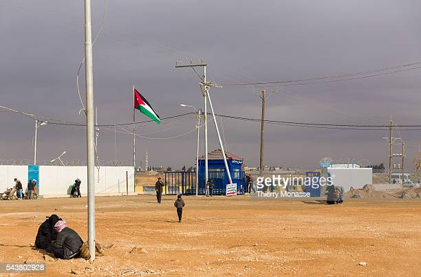 Zaatari Jordania February 4 2013 The entrance of the zaatari camp Zaatari is a refugee camp in Jordan located 10 km east of Mafraq It was first...