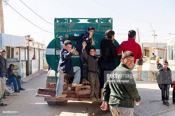 Za'atari Mafraq Governorate Jordan February 5 2014 The life in the main street of the camp called 'the Champs Elyses' Zaatari is a refugee camp in...
