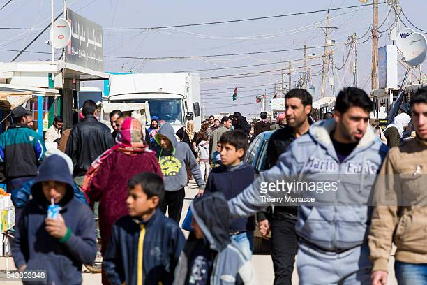 Za'atari Mafraq Governorate Jordan February 5 2014 The life in the main street of the camp called the Champs Elyses Zaatari is a refugee camp in...