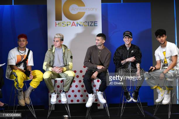 Zabdiel de Jesús, Erick Brian Colón, Christopher Vélez, Richard Camacho, and Joel Pimentel of CNCO seen onstage during the 10th Anniversary...