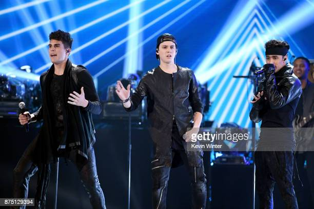 Zabdiel De Jesus Christopher Velez and Joel Pimentel of CNCO perform onstage at the 18th Annual Latin Grammy Awards at MGM Grand Garden Arena on...