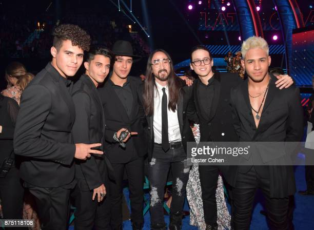 Zabdiel De Jesus Erick Brian Colon Joel Pimentel De Leon Christopher Velez Munoz Richard Chamaco of CNCO and Steve Aoki onstage during The 18th...