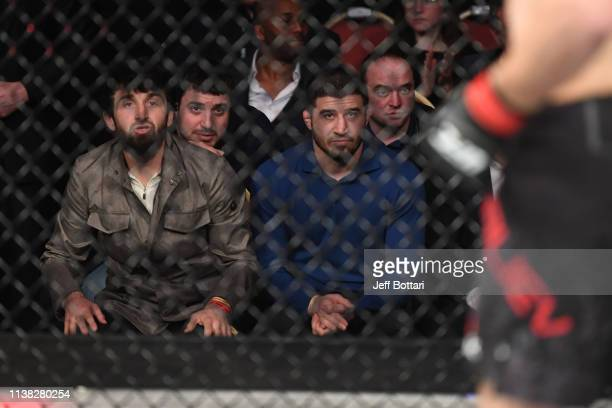 Zabit Magomedsharipov and Rustam Khabilov look on during the UFC Fight Night event at Yubileyny Sports Palace on April 20 2019 in Saint Petersburg...