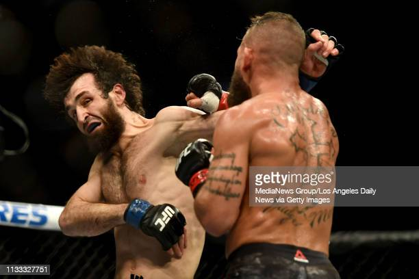 Zabit Magomedsharipov lands a punch to the head of Jeremy Stephens Magomedsharipov defeated Stephens via judges decision during UFC 235 at the...