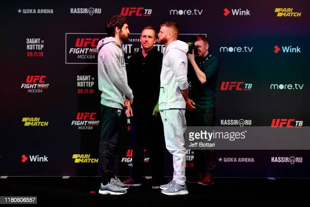 Zabit Magomedsharipov of Russia and Calvin Kattar face off during UFC Fight Night Ultimate Media Day at Arbat Hall on November 7 2019 in Moscow Russia