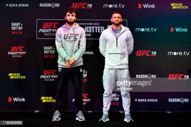 Zabit Magomedsharipov of Russia and Calvin Kattar pose during UFC Fight Night Ultimate Media Day at Arbat Hall on November 7 2019 in Moscow Russia