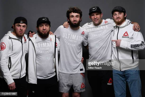 Zabit Magomedsharipov of Russia and his team pose for a portrait backstage during the UFC 235 event at TMobile Arena on March 2 2019 in Las Vegas...