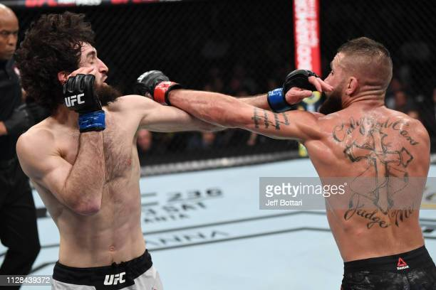 Zabit Magomedsharipov of Russia and Jeremy Stephens trade punches in their featherweight bout during the UFC 235 event at TMobile Arena on March 2...