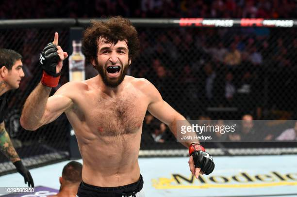 Zabit Magomedsharipov of Russia celebrates after submitting Brandon Davis in their featherweight fight during the UFC 228 event at American Airlines...