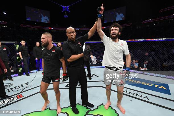 Zabit Magomedsharipov of Russia celebrates his victory over Jeremy Stephens in their featherweight bout during the UFC 235 event at TMobile Arena on...