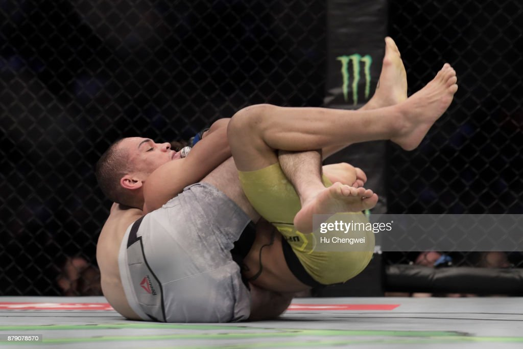 Zabit Magomedsharipov of Russia fights with Sheymon Moraes during the UFC Fight Night at Mercedes-Benz Arena on November 25, 2017 in Shanghai, China.