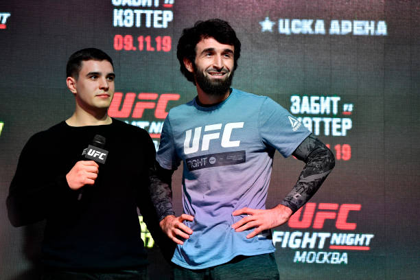 Zabit Magomedsharipov of Russia holds an open training session for fans and media during UFC Fight Night open workouts at Arbat Hall on November 6,...