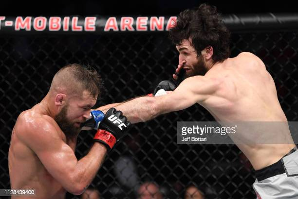 Zabit Magomedsharipov of Russia punches Jeremy Stephens in their featherweight bout during the UFC 235 event at TMobile Arena on March 2 2019 in Las...