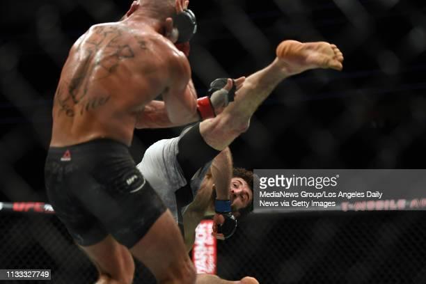 Zabit Magomedsharipov throws a spring kick at Jeremy Stephens Magomedsharipov defeated Stephens via judges decision during UFC 235 at the TMobile...