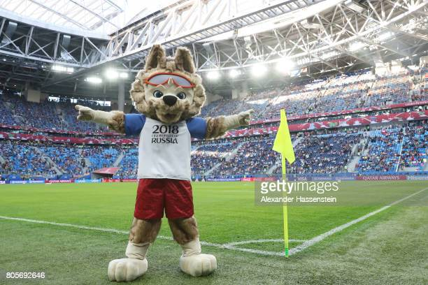 Zabivaka FIFA World Cup Russia official mascot is seen prior to the FIFA Confederations Cup Russia 2017 Final between Chile and Germany at Saint...
