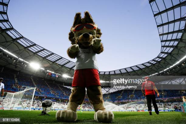 Zabivaka 'Goalscorer' the official mascot is seen during the 2018 FIFA World Cup Russia Group G match between Tunisia and England at the Volgograd...