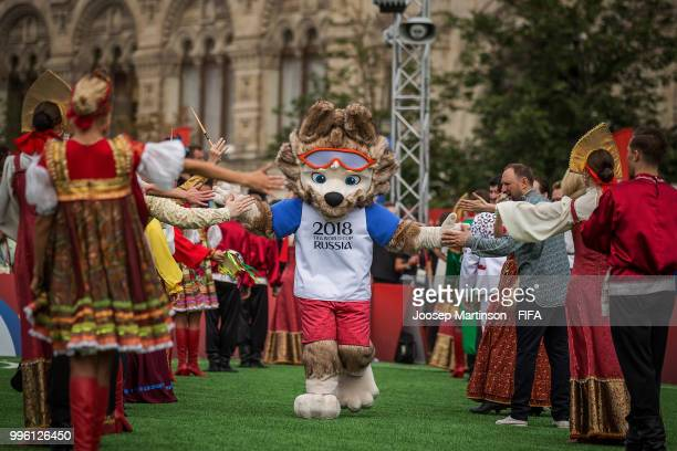Zabivaka is being greeted during the Legends Football Match in Red Square on July 11 2018 in Moscow Russia