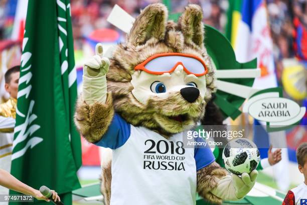 Zabivaka Official Mascot World Cup 2018 perform at the opening ceremony during the 2018 FIFA World Cup Russia group A match between Russia and Saudi...