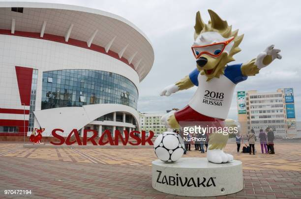 Zabivaka symbol in the center of Saransk Russia The city will held 4 matches from the group stage of FIFA World Cupe Russia 2018 Two weeks before the...